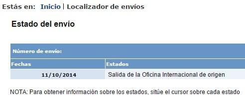 Estado del envío | Correos.es