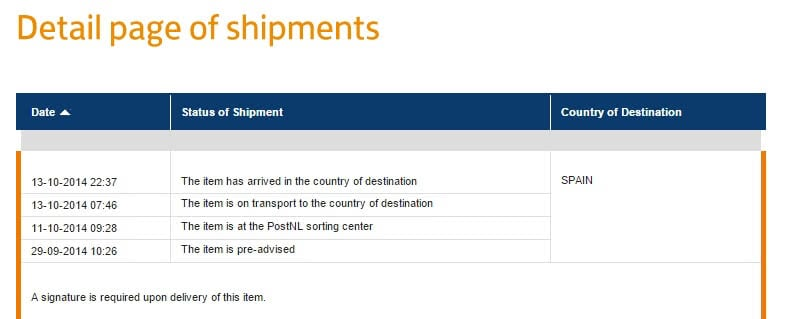 Detail page of shipments | PostNL.post